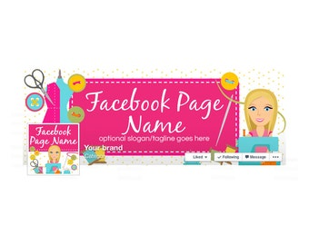 Timeline Cover and Profile Picture - Facebook Timeline Cover Facebook Cover - Sewing Themed - Social Media Cover - Sewing 10-16
