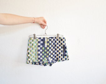 60s mens swim trunks . mod geometric print bathing suit . retro Jantzen swimwear .extra small.xs