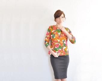 mod rainbow butterfly blazer . bright colorful 1960 wool mariposa jacket .medium .sale