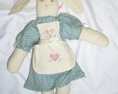 "handmade country Easter bunny rabbit doll 14"" tall blue heart dress w/ apron"