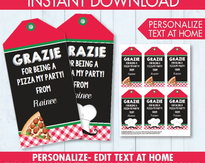 Pizza Party Favor Tag - Thank You Tag - Pizza Gift Tag, Pizza Birthday Party - Instant Download DIY Printable PDF Kit