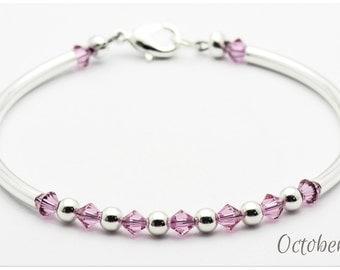 BIRTHSTONE Finger-bracelet OCTOBER Rose Opal Custom