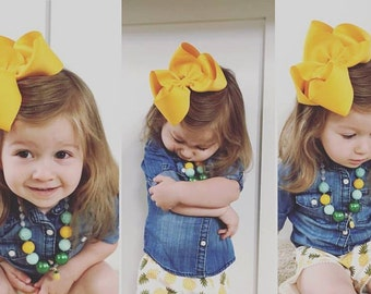 "5 Extra Large Jumbo BIG 5 inch Hair Bows - Choose Colors - 2.25"" Ribbon - Summer Beach m2m Matilda Jane Happy and Free Yellow Gold Pineapple"
