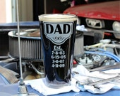 Personalized Beer Glass, Big 22oz Etched Drinking Glass for Him, Dad Established, Father's Day Gift, Beer Glass w/ Children's Birth Dates.