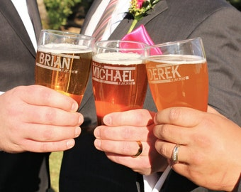 Father of the Groom Officiant Gift Wedding Reception Glasses Gifts for the Groom Personalized Groomsmen Beer Pilsner Glasses Etched Beer