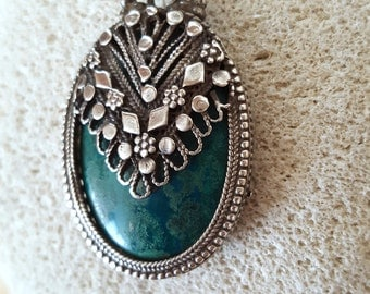 Reserved Sale... STUNNING Antique Eilat Stone Sterling Silver Handmade Necklace Pendant from Israel. Azurite. Chrysocolla. Fall Finds.