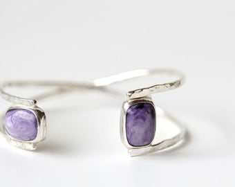 Sterling silver bracelet cuff with purple charoite, asymmetrical cuff, small to medium wrists