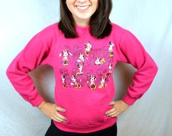 Vintage 80s Pink Minnie Mouse Disney Designs Sweatshirt - XS