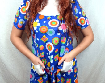 Vintage 1970s XS Mini Babydoll Rainbow Shapes Dress