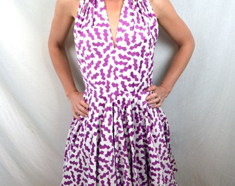 Vintage 80s A.J. Bari Summer Party Halter Dress