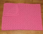 Handmade Hot Pink Crocheted Baby Blanket Afghan