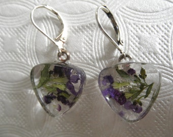 Purple Alyssum,Ferns Pressed Flower Glass Triangle Leverback Earrings-Symbolizes Worth Beyond Beauty-Nature's Art