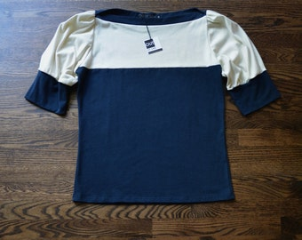 Sale, Extra Large, Puff Sleeve Top, Navy and Ivory, Cotton Jersey- handmade to order