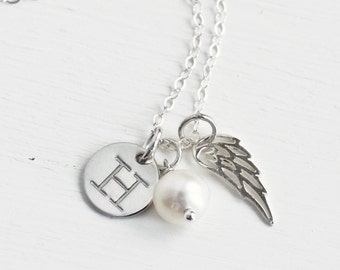 Personalized Child Loss Jewelry / Sterling Silver Angel Wing Necklace / June Birthstone / Child's Initial Necklace