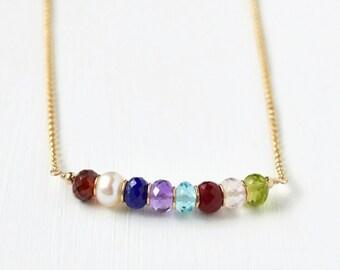 18 Inch Custom Grandmother Necklace / Grandma Birthstone Necklace / Multi Birthstone Family Necklace / Gold Fill