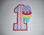 Free Shipping Ready to Ship Birthday  Number 1 Ice Cream    fabric iron on applique