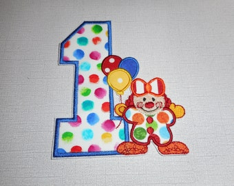 Free Shipping Ready to Ship Number 1 Clown Fabric iron on applique