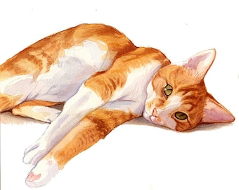 Watercolor Custom Pet Portrait *CONVO FOR AVAILABILITY*Orange Tabby Cat Portrait, Cat Portrait, Dog Portrait, Wall Art, Pet Lovers Gift