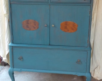 Wardrobe Dresser in Teal Distressed Finish VintageCabinet Chest of Drawers Poppy Cottage Painted Furniture