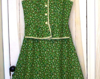 vintage 1970s finnish design calico top and skirt set