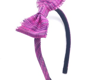 Plaid Skinny Bow Headband in Pink and Purple  - Shabby Chic Bow Headband - Girls Bow Headband - Boutique Shabby Chic Bow - Skinny Headband