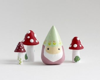 Miniature Gnome Figurine - lawn gnome, mini fairy garden gnome, whimsical garden decor, childrens room decor, ring holder, gifts under 20