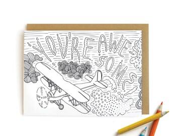 Biplane Awesome - letterpress card