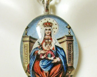 Our Lady of Miracles devotional pendant with chain - GP12-012 cameo style