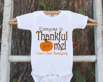 Thankful For Me Thanksgiving Outfit - Thanksgiving Shirt or Onepiece - Thanksgiving Outfit for Baby Boy or Girl - First Thanksgiving Shirt