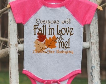 Baby Girl Thanksgiving Outfit - Custom Fall in Love Pink Raglan Onepiece or Tshirt - Baby Girl First Thanksgiving Outfit - Fall In Love