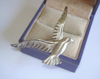 Signed Beau Sterling Bird Vintage Jewelry Brooch