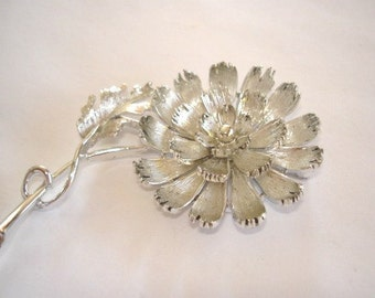 Signed Lisner Flower Brooch  Silver Tone Repousse