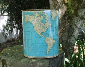 World Globe Map Metal Waste Basket Rand McNally Weibro Company  1960 VINTAGE by Plantdreaming