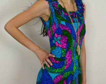 60s Psychedelic Dress Long Maxi Dress Vivid Blue, Green, Pink, and Purple Groovy Print Ruffle Detail Epsteam