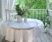 Wedding Tablecloth, Tablecloth, Vintage Tablecloth, Crochet, Cottage Charm, Shabby Cottage, Picnic, Pure White, by mailordervintage on etsy