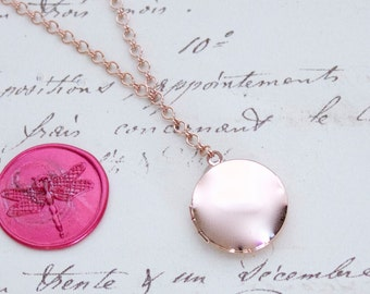 Vintage Inspired Y Necklace w/Small Round Locket - Choice of Sterling Silver, Yellow Gold, or Rose Gold Plate - Nickel Free