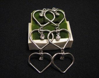 BIG Vintage Silver Tone Diamond Rhinestone Cascading Hearts Dangle Pierced Earrings