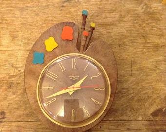 Vintage 1960's painter's palette clock by Spartus