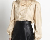 Vintage 80s Gold Airy Silk Blouse with Pleated Collar   S