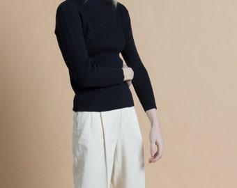 Vintage 90s Black Ribbed Cotton Knit Fitted Pendleton Turtleneck Top | S/M