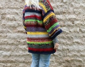 Chunky Cardigan Hand Knitted Cardigan Long Cardigan Colorful Striped Sweater Plus Size Clothing Oversized Sweater Chunky Knit Cardigan Gift