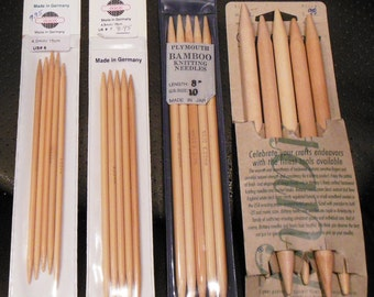 Knitting Needles Lot 2 - Double Point BAMBOO Various Sizes (4 Total)