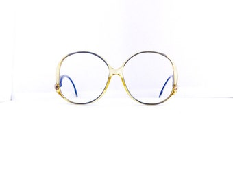 80s Zeiss Eyeglasses Frames Women's Vintage 1980's Translucent Yellow with Blue & Gold Frames with Drop Arm Made in Germany #M492 DIVINE