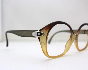 70s 80s Christian Dior Eyeglasses Vintage 1970's 1980's Yellow Dior Frames Optyl Model 2050