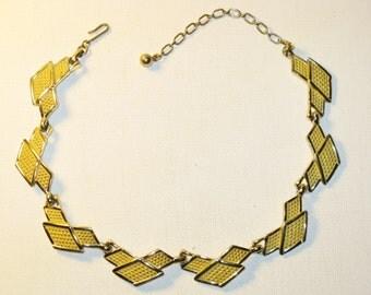 Vintage Bogoff Art Deco Yellow Enamel Necklace  (N-1-1)