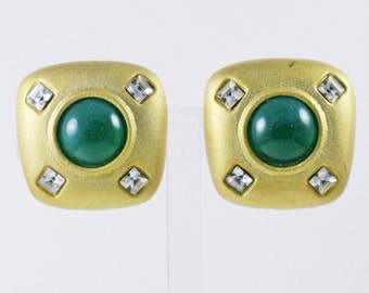 Vintage Emerald Green Glass Cabochon and Clear Crystal Rhinestone Square Clip Earrings  (E-2-5)
