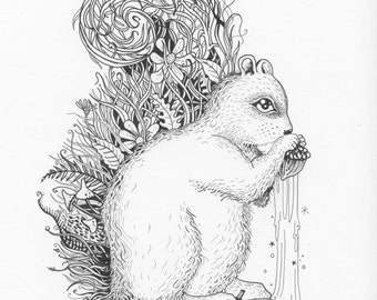 Coloring Woodland Theme Postcards - Set of five.