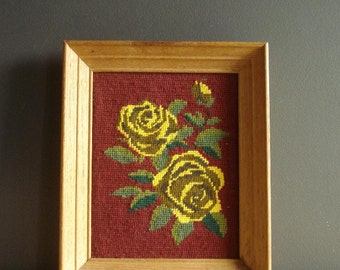 Yellow Rose - Vintage Cross Stitch Flower Art for Your Wall