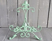 Green Easel, Metal Easel Book Stand Prop, Shabby Cottage Chic, Fleur De Lis, Parisian Chic, Cottage Chic, French Country, Paris Apartment