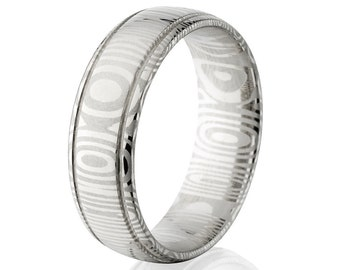Damascus Steel 7mm Ring Wedding Bands USA Made - DS-7HR2G